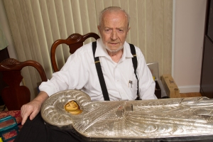 silversmith artist Andreas Mazioutas with Icon of The Burial Shroud of the Mother of God